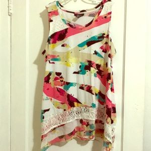 Style & Co. Colorful High Low tank